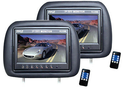 "7"" Headrest Pair Black Pyle Pl71phb 12volt Mobile Video"