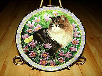 Lesley Anne Ivory Simpkin In Pasque Flowers CATS AMONG THE FLOWERS Plate