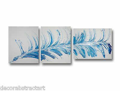 3 ABSTRACT CANVAS PAINTING blue white. Modern wall art artwork