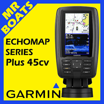 GARMIN ECHOMAP Plus 45cv FISHFINDER CHARTPLOTTER Inc MAPS, CHIRP Trans FREE POST