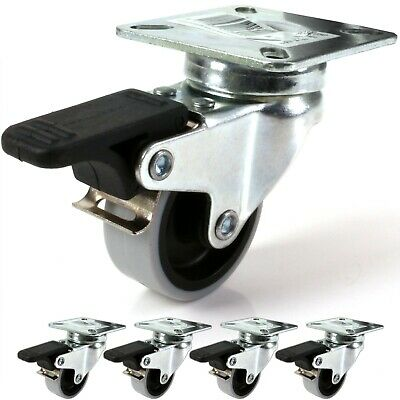 """4x 2""""/50mm BRAKED GREY PU CASTOR WHEELS★HOLDS 200Kg★Strong Dolly/Trolley Casters"""