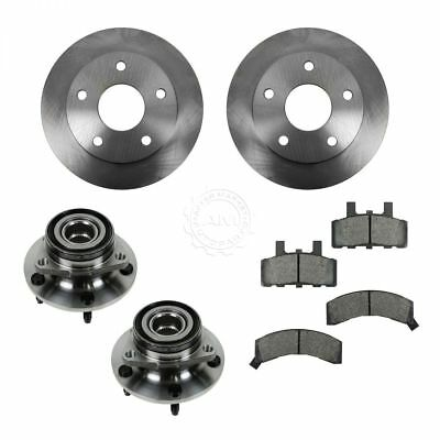 Wheel Hub Ceramic Brake Pad Rotor Front Kit for 94-99 Dodge Ram 1500 4WD NEW