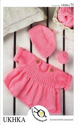 Double Knitting DK Pattern Baby Button Detail Sweater Flared Jumper Hat UKHKA 71