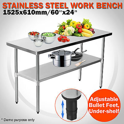 New 1524 x 610mm Stainless Steel Work Bench Kitchen Prep Catering Table 5x2FT
