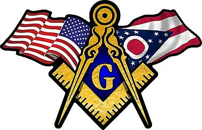 "1 - 3"" x 5"" American & Ohio Flags Masonic Compass Square Decal Sticker 070"