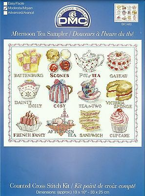 DMC AFTERNOON TEA SAMPLER CAKES COUNTED CROSS STITCH KIT 33x25cm BK1460 - NEW