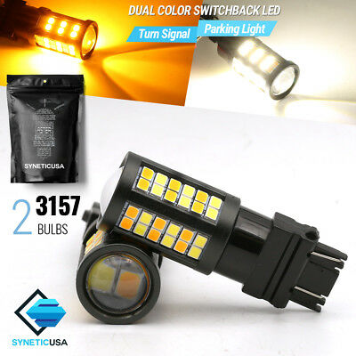 2x 3157 Dual Color 2835 Switchback White/Amber Yellow LED Turn Signal Light Bulb