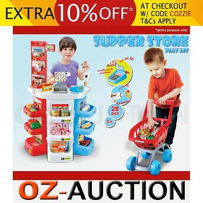 Kids Supermarket Store Food Pretend Play Set Cash Shopping Trolley Toys