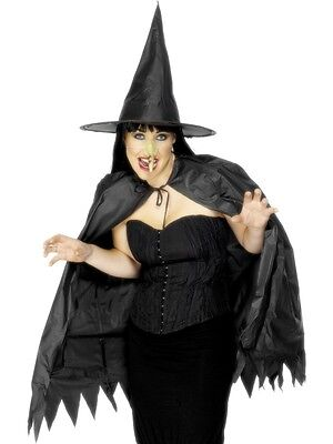 Ladies Witch Hat Cape & Pointed Nose Set Halloween Witch's Fancy Dress