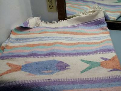 Hand Woven ? Pastels Fish Rug Runner Blanket Throw Wall Hanging Southwest