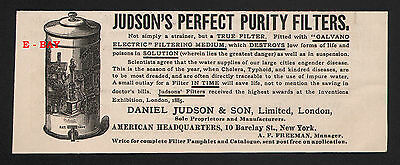 1887 Judson Galvano Electric Purity Water ? Filter Cholera Typhoid Poisons Ad