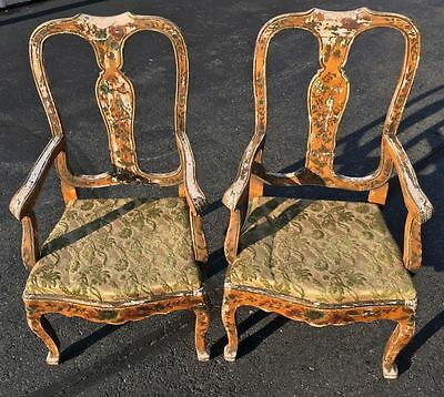 Antique Pair VENETIAN Paint Decorated Arm Chairs Best Design Chinoiserie Italian