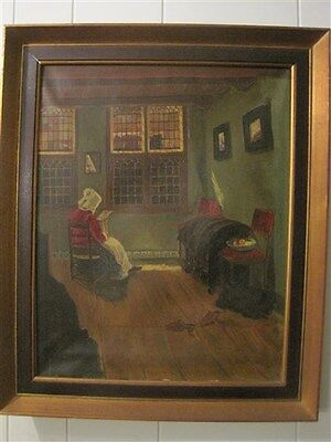 "Old European Oil Painting Framed Interior Woman Seated unsigned 24"" x 20"" Art"