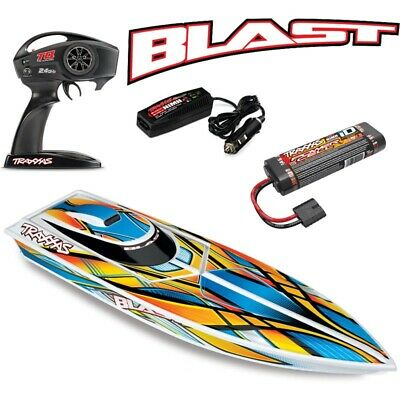 NEW Traxxas Blast Electric RC Boat w/ID Battery & Quick Charger ORANGE - FREE SH
