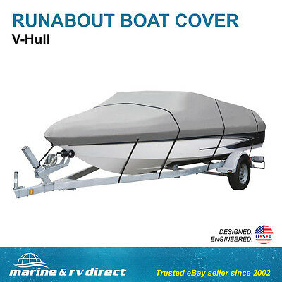 Heavy Duty 20 Ft.  22 Ft. Foot Runabout, Ski, Boat Cover GRAY