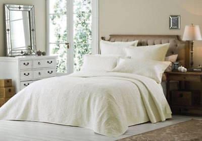 Luxury King Size Cream Quilted Embroidered Bedspread Throw + 2 Pillow Shams