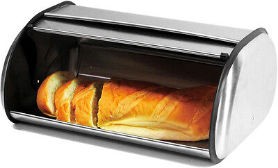 Brushed Stainless Steel Bread Box - Roll top 2 Loaf Capacity Large Bread Box
