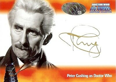 Dr Doctor Who Big Screen Additions Auto Card A5 Peter Cushing as The Doctor