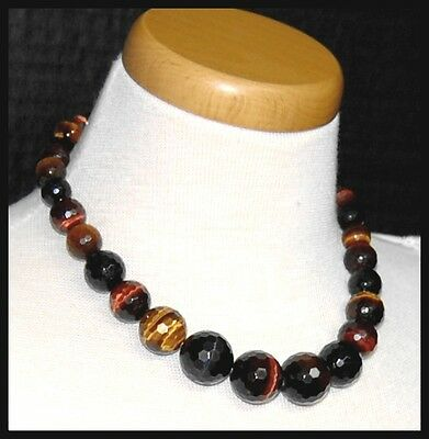 Chunky Sterling Silver Faceted Tiger Eye Stone Bead Vintage QVC / HSN Necklace