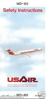 Safety Card - US Air - MD-80 - 1988 (S3510)