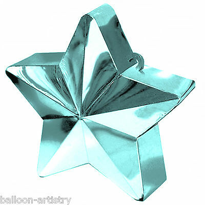 3 Wedding Party EGG BLUE Star Metallic Balloon Weights