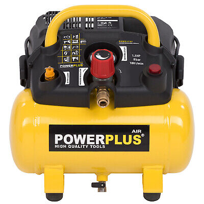 powerplus Druckluft Kompressor 8 bar 1100 Watt 1,5 PS 6 L Tank 180 Liter /min