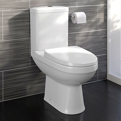 Modern Ceramic Close Coupled Toilet Bathroom Pan Dual Flush & Seat WC White