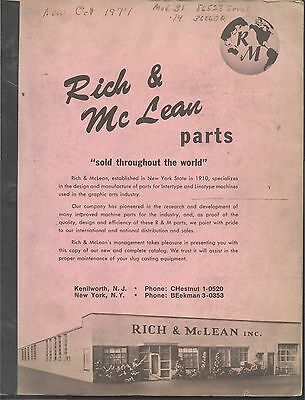 1977 Rich & McLean LINOTYPE PARTS CATALOG, Kenilworth New Jersey. Priced