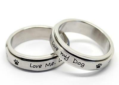 Stainless Steel Spinner Ring Love Me. Love My Dog. Unconditional Love Remembered