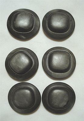 """Set Of Six New Vintage Dark Gray & Black Mottled 1 1/8"""" Plastic Sewing Buttons"""
