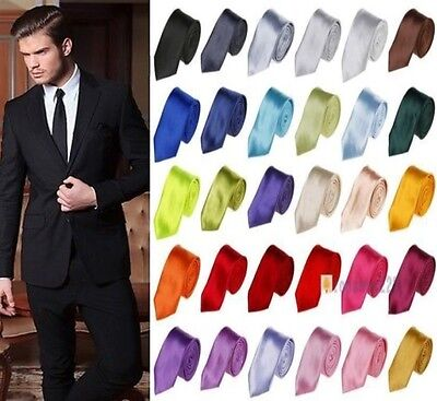 Mens SKINNY TIE Plain Wedding Slim Narrow Necktie Formal Casual Party Solid Hot