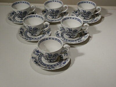 SET OF 6 J & G MEAKIN BLUE NORDIC BLUE ONION CUP AND SAUCER SETS ENGLAND EXLT