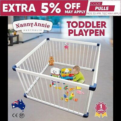 Wooden Square Kids Play Pen | Childs Playpen WHITE