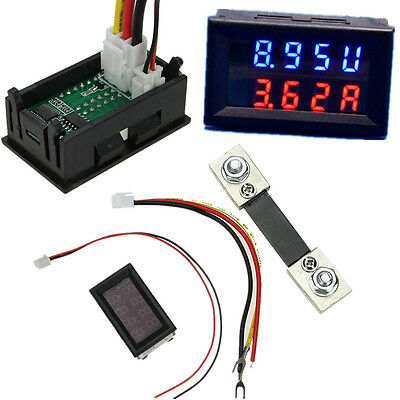 100A 200V Car DC Digital Voltmeter Ammeter LED Amp Volt Meter + Current Shunt US