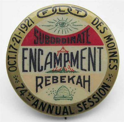 1921 ODD FELLOWS Subordinate Rebekah Encampment Pin DES MOINES IA - IOOF