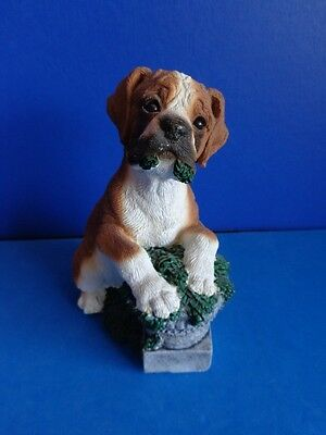1990s BOXER PUPPY FIGURINE STATUE WITH PLANT- LIVING STONE