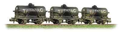 Graham Farish 373-665 Triple Pack 14 Ton Tank Wagons Tarmac Black - Weathered N