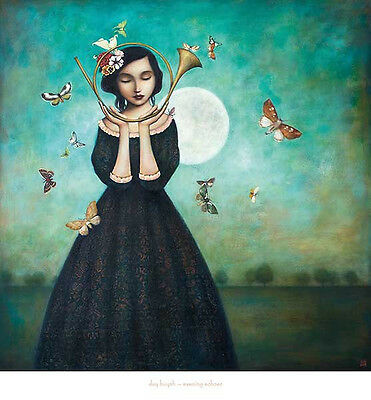 Evening Echoes by Duy Huynh Butterflies Fantasy Music Art Print Poster 26x28