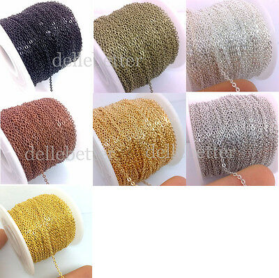 50 Yards Flat Cable Chain Welded Oval Link Copper Brass Based 4 Size Gold Silver