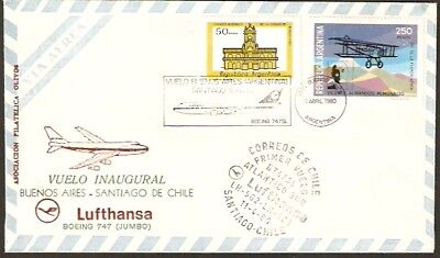2138 ARGENTINA TO CHILE FFC FIRST FLIGHT COVER 1980 LUFTHANSA B-747