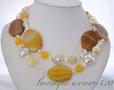 BEAUTIFUL yellow massive wafer agate faceted crystal jade bead NECKLACE 36inch