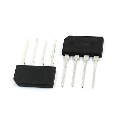 2PCS GBL406 4Amp 600V DIP Type 4Pins Bridge Rectifiers