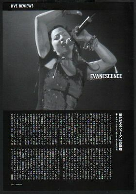 2003 Evanescence on stage in JAPAN magazine article w/ photo  ev3010r