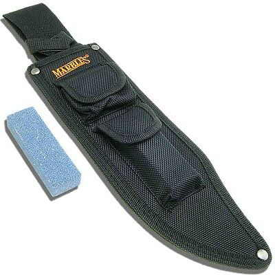 MARBLES Large Fixed Blade Bowie Knife Nylon Belt Sheath Pouch +Sharpening Stone