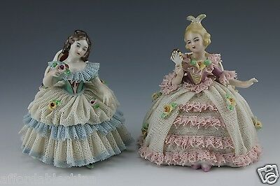 Two German Porcelain Dresden Lace Seated Lady Figurine Figure