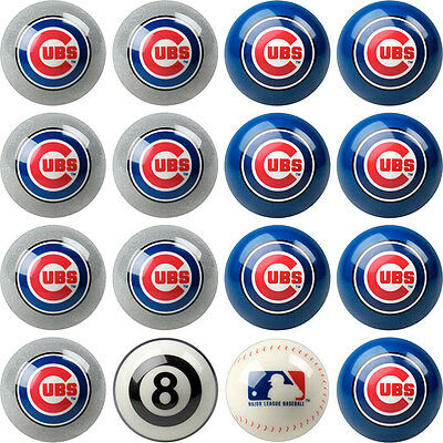 Chicago Cubs Home and Away MLB Pool Ball Set!!  FREE US SHIPPING