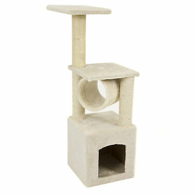 36in Faux Fur Cat Tree Tower Furniture w/ Condo, Scratching Posts,& Tunnel-Beige