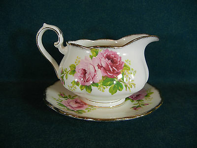 Royal Albert American Beauty Gravy Boat with Separate Under Plate