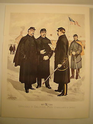 Vintage H.A. OGDEN 12X15 Lithograph PRINT 1888 US ARMY Officers & Enlisted Men