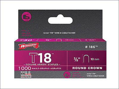 Arrow ARRT1838 T18 Staples 10mm (3/8in) Box 5000 ROUND CROWN